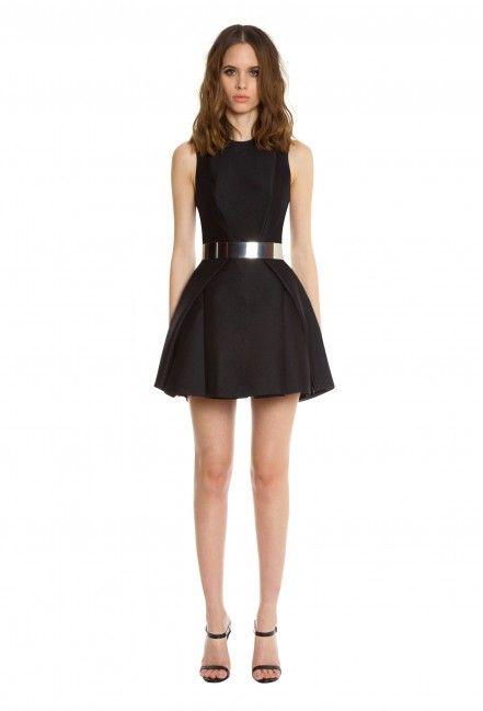 Mesha Structured Full Skirt Mini Dress · Black · AQ/AQ