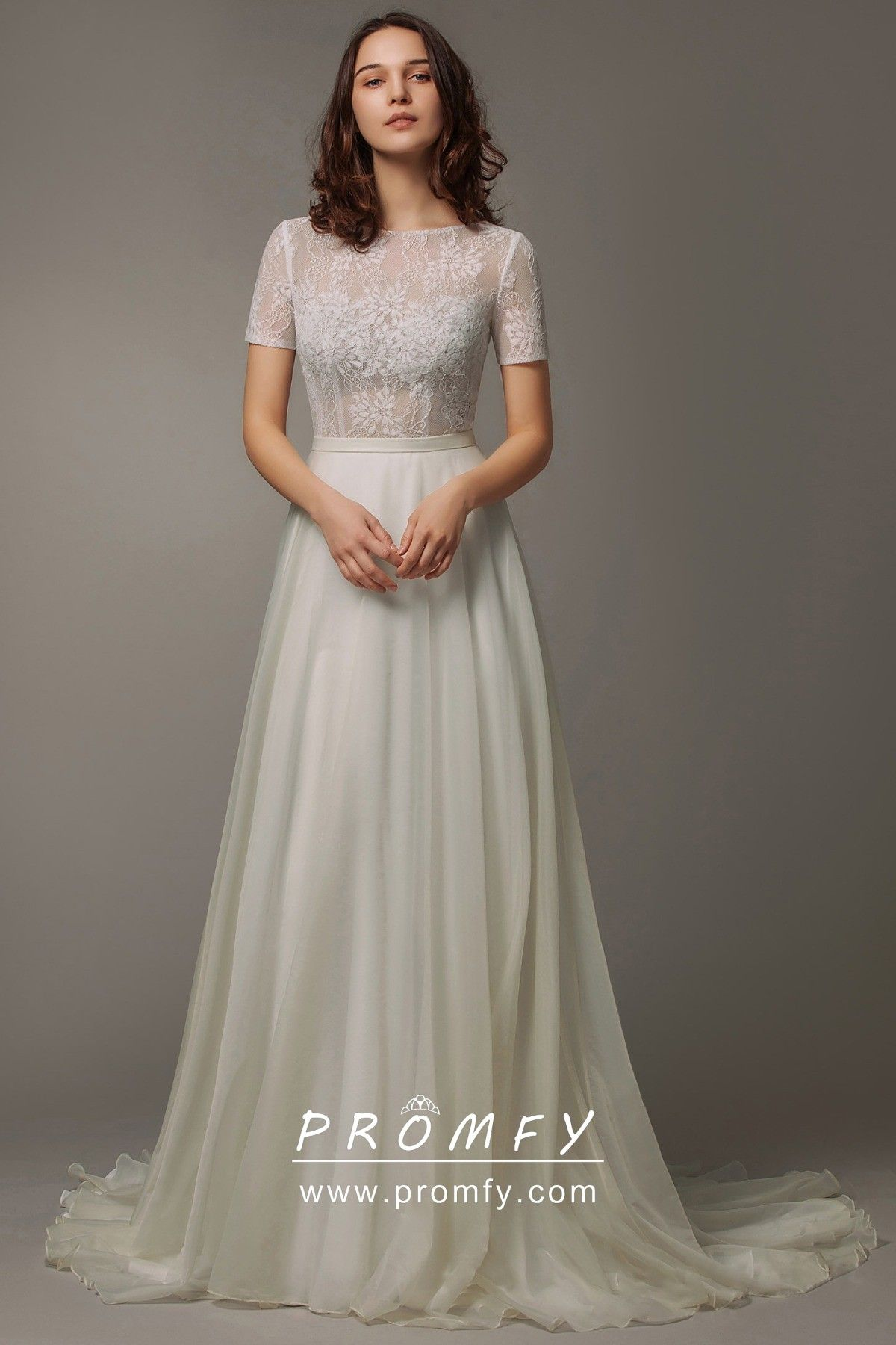 See Through Lace Top Modern A Line Wedding Dress Short Lace Wedding Dress A Line Wedding Dress Wedding Dresses [ 1800 x 1200 Pixel ]