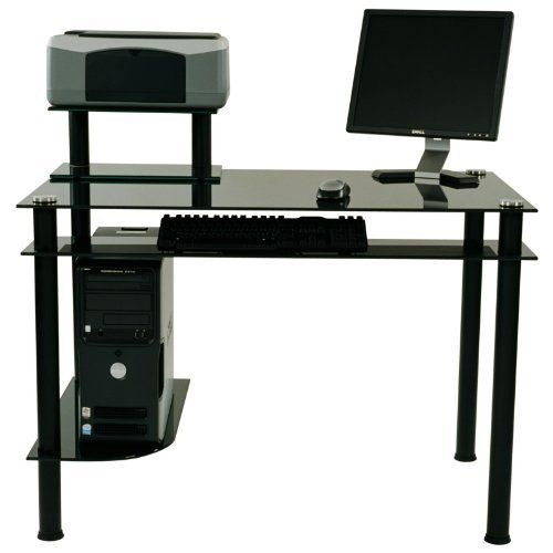 George Computer Desk By Rta Home And Office 199 99 Dark Tinted Glass Aluminum Tube Supports Glass Computer Desks Modern Computer Desk Black Computer Desk