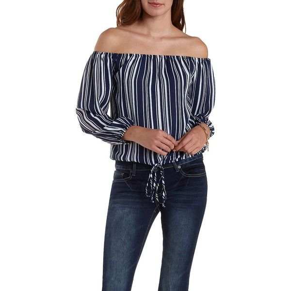 Charlotte Russe Navy Combo Striped Off-the-Shoulder Top by Charlotte... ($23) ❤ liked on Polyvore