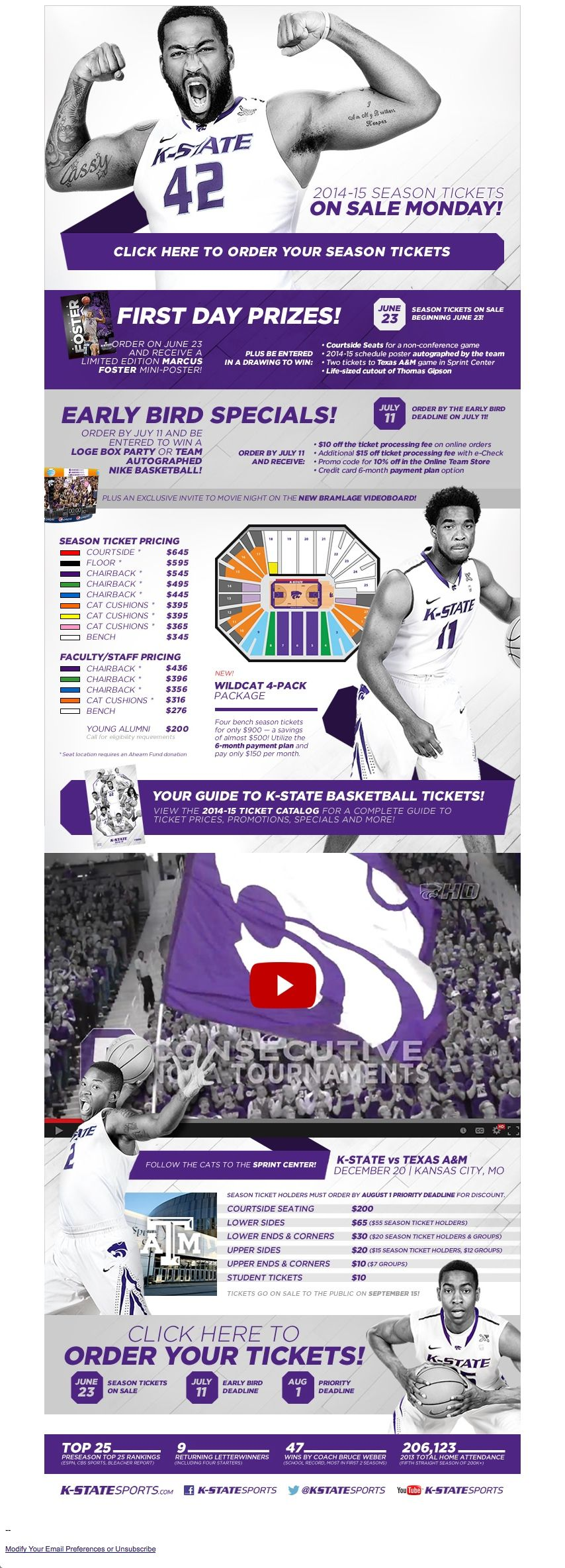 Kansas State Season Ticket Sales Promoting First Day Prizes And Early Bird Specials Sports Biz Season Ticket Sports Graphics