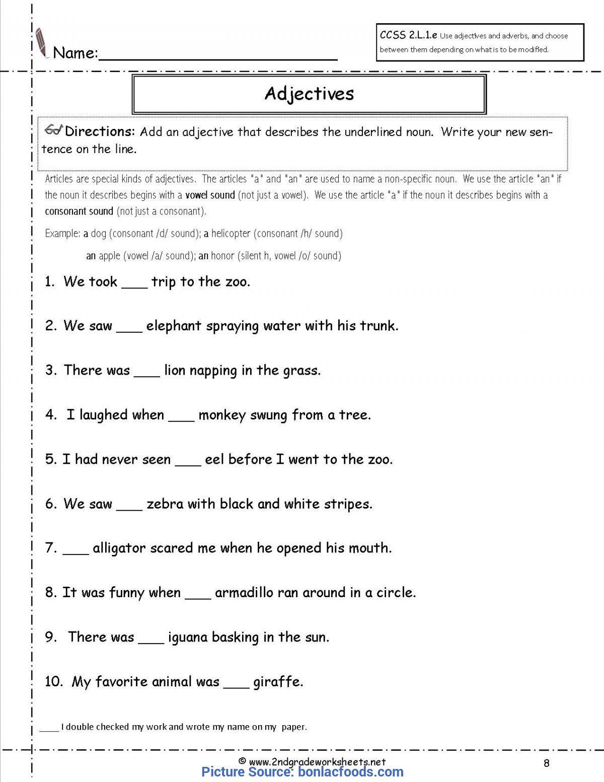 Free Printable Adjective Worksheets Valuable 2nd Grade Lesson Plans Adjectives Worksheet In 2020 2nd Grade Worksheets Grammar Worksheets Third Grade Grammar Worksheets