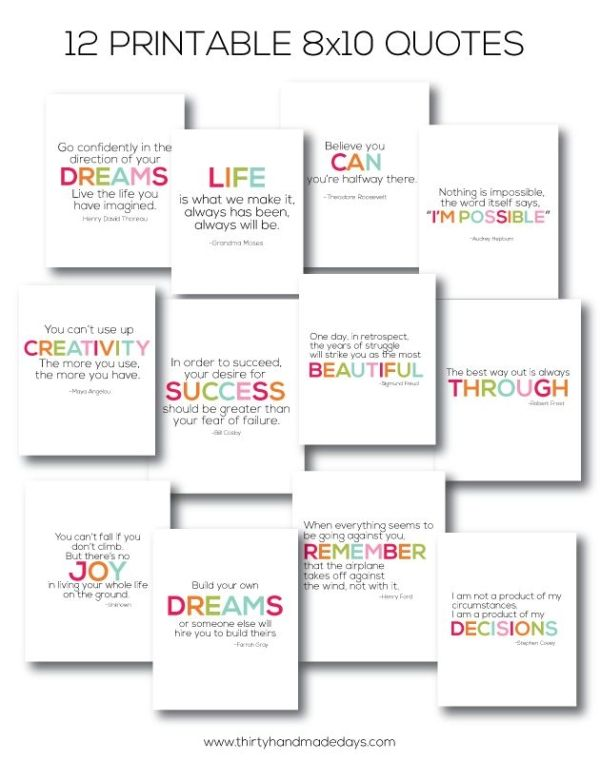 Easy Gift Ideas Interchangeable Printable Quote with Frame