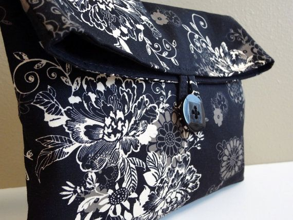 Makeup Bag Cosmetic Bag in Black Floral  Size Large by BagsByLora, $18.99