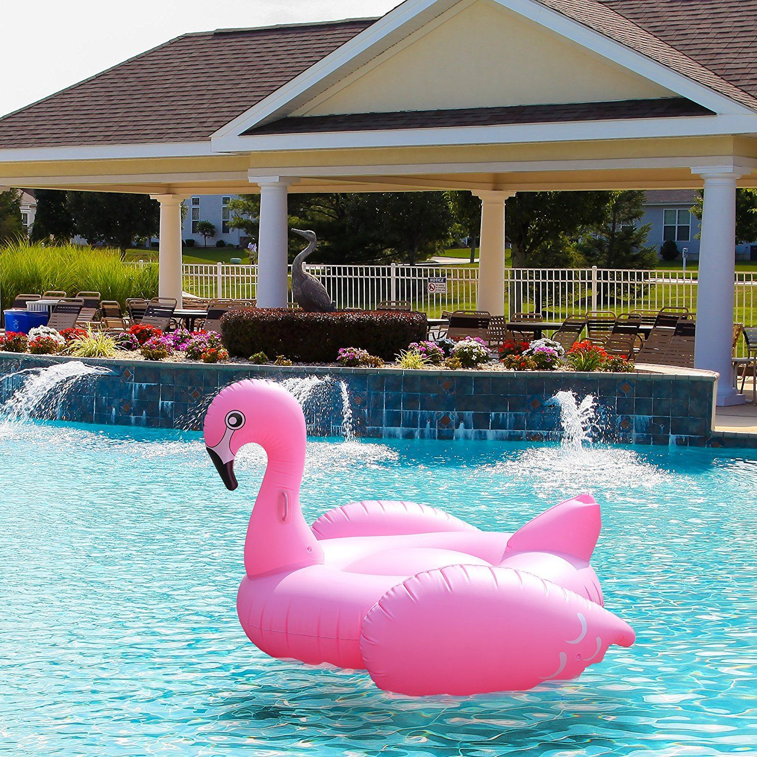 "Amazon Pink Flamingo Pool Float & Tube HUGE 80"" Raft"