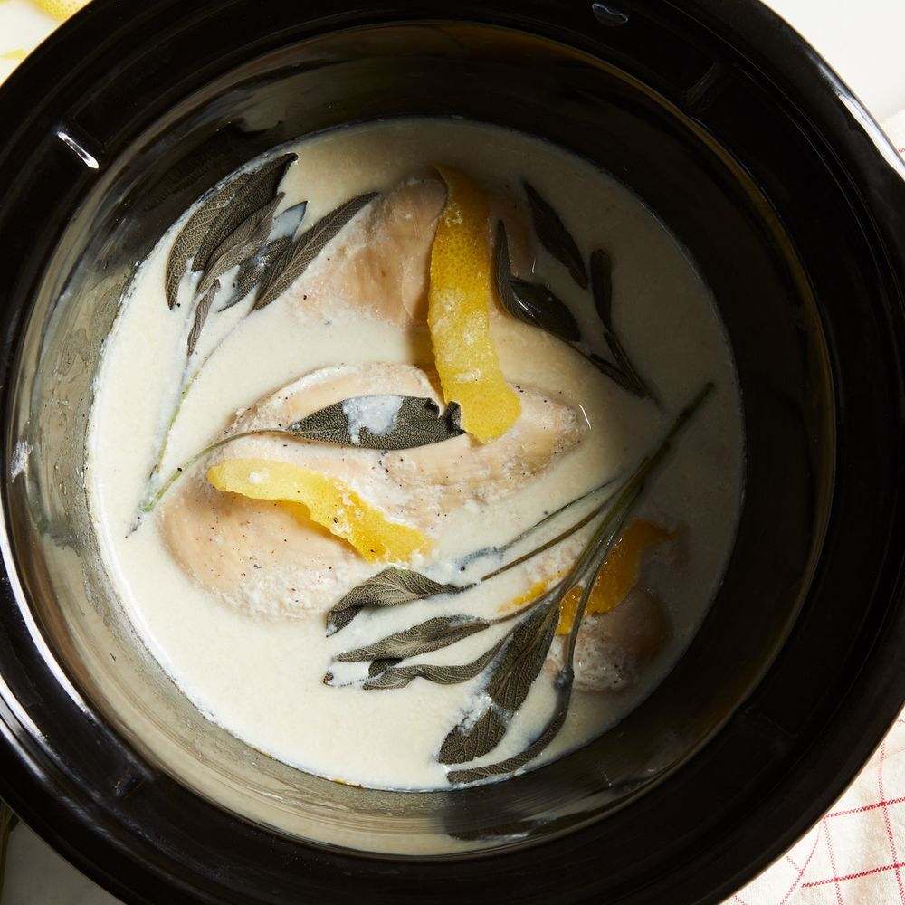 Slow-Cooker Chicken Breasts With Lemon, Sage  Milk -4518