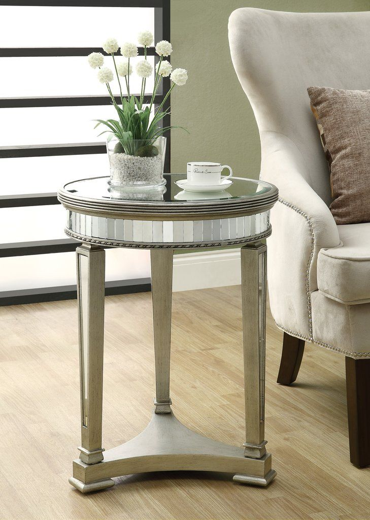 Mirrored Side Table Silver