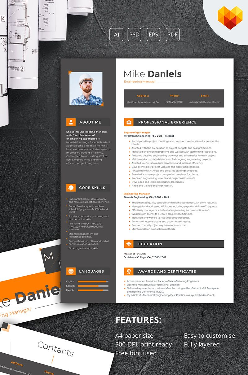 Mike Daniels Engineering Manager Resume Template 66446 Impress The Hr Download Download Editable Resume Design Resume Design Free Resume Template