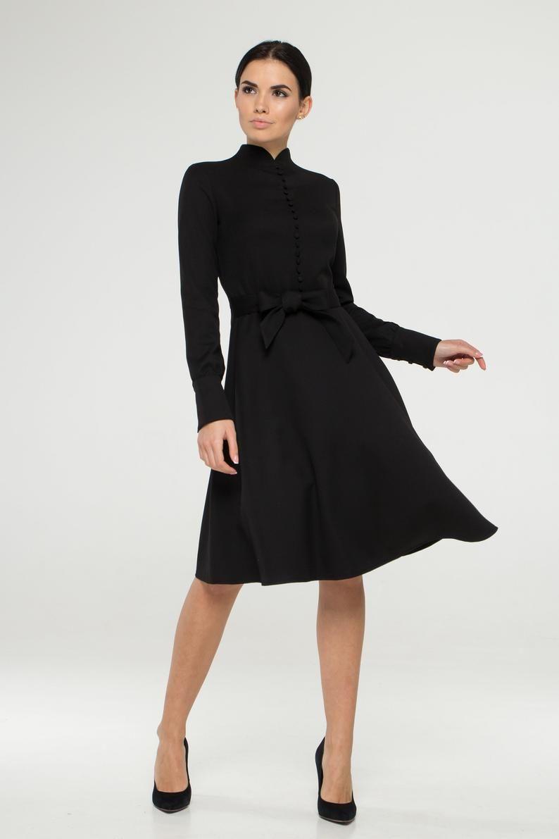 Button Front Long Sleeve Black Dress Mandarin Fit And Flare Etsy Black Long Sleeve Dress Fit N Flare Dress Dresses [ 1191 x 794 Pixel ]