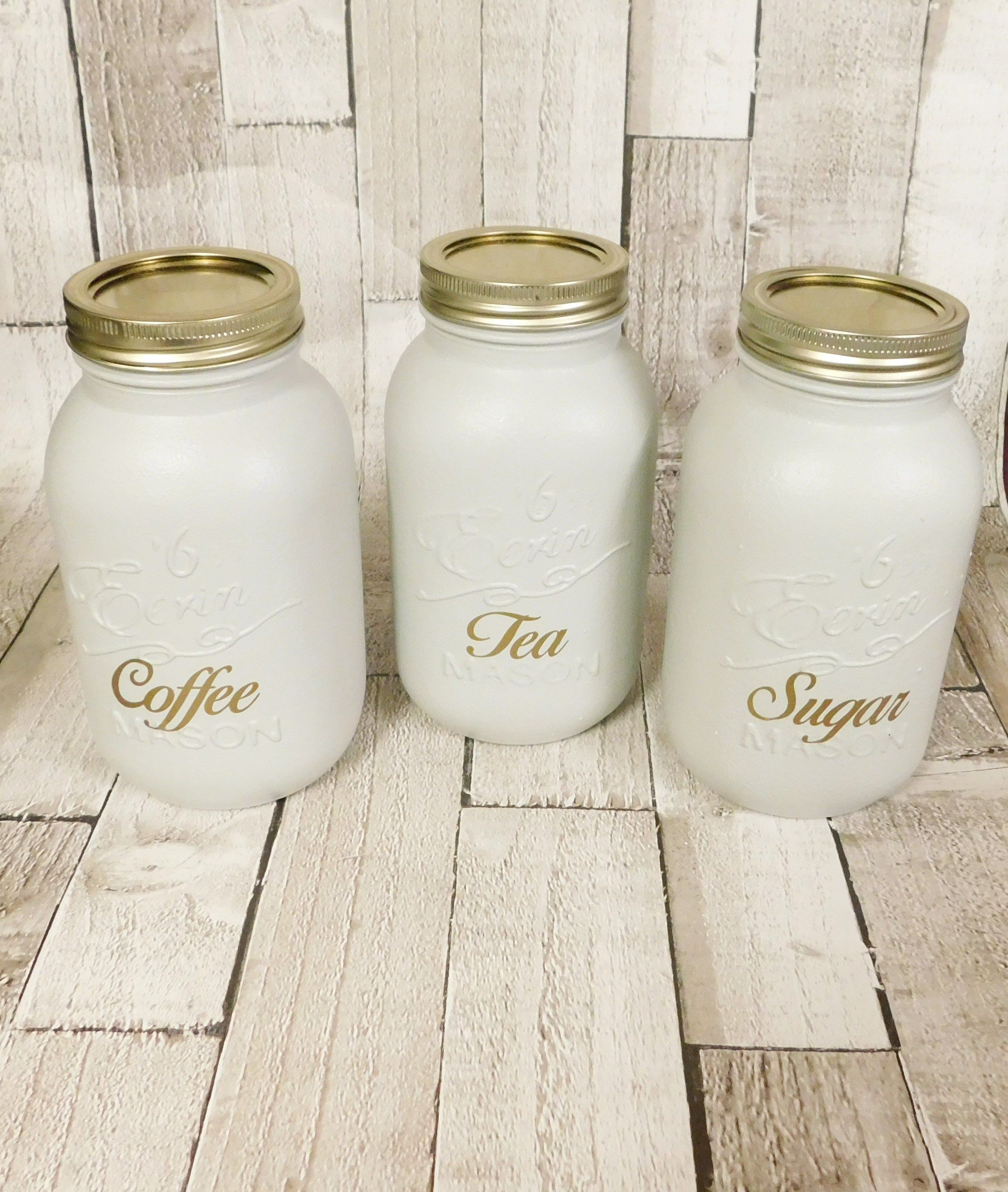 Grey Black Or White Kitchen Canister Jars Tea Coffee Sugar Etsy Kitchen Jars Storage Kilner Jars Tea Coffee Sugar Jars