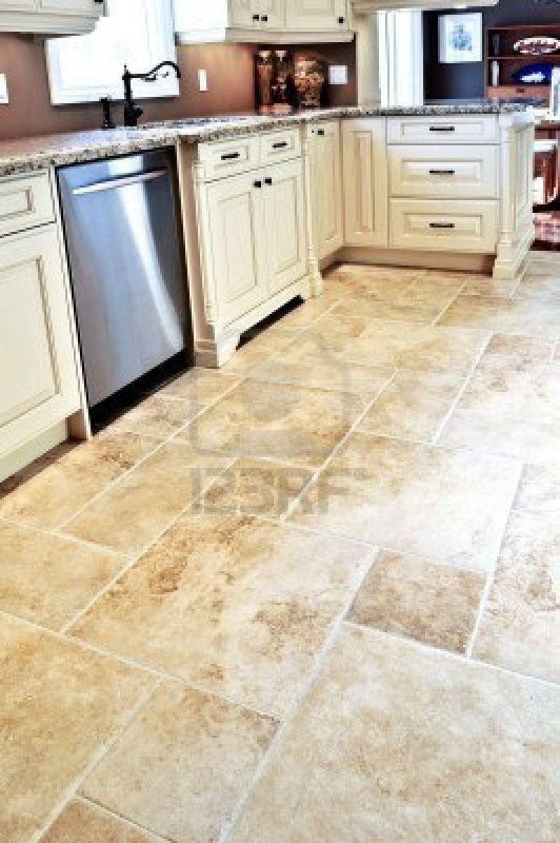 Ceramic tile flooring cream pattern tile for kitchen for Best vinyl flooring for kitchens