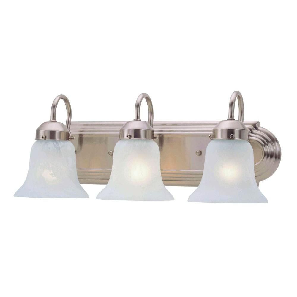 Livex Lighting 3-Light Brushed Nickel Bath Light with White Alabaster Glass Shade