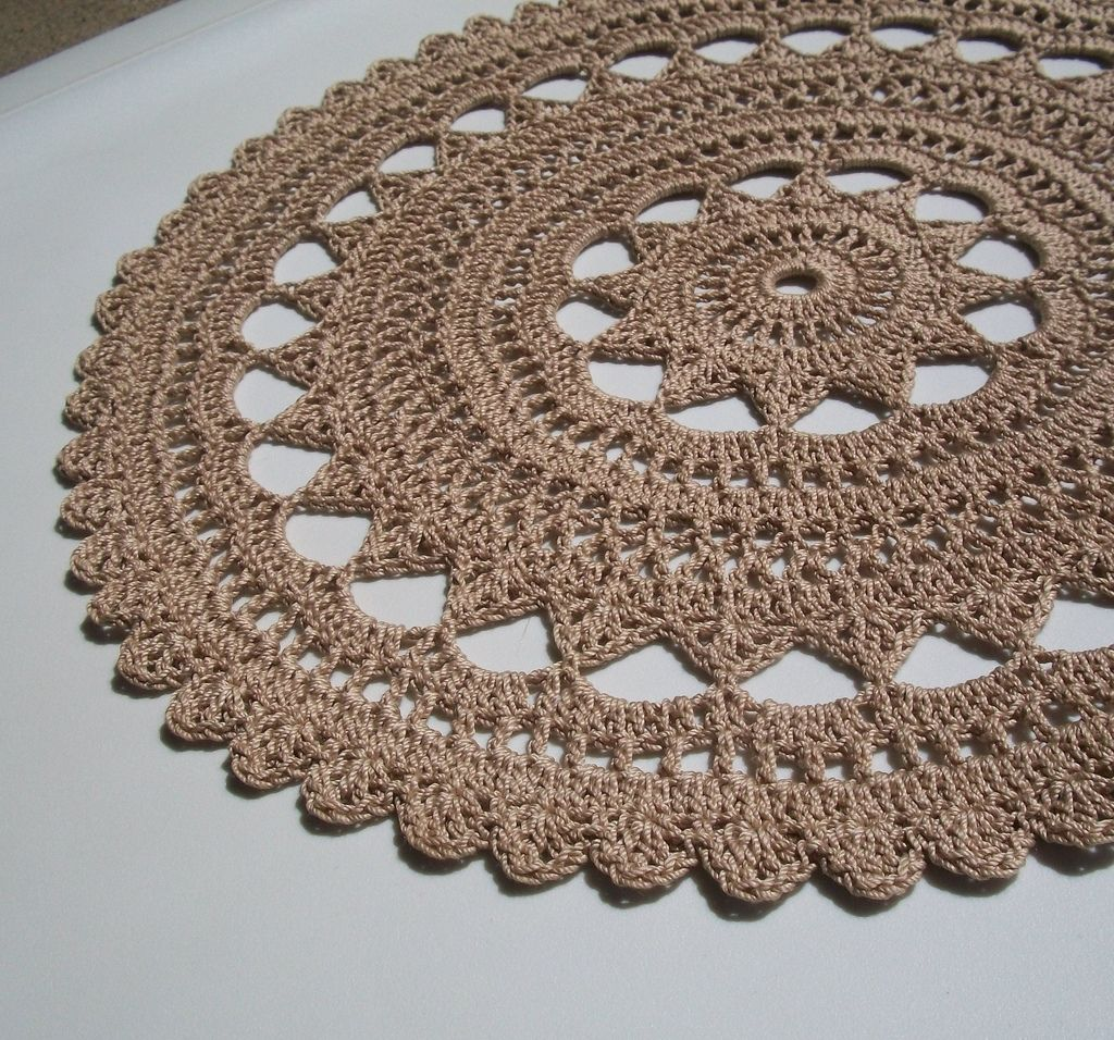 Tea dyed thread crochet doily in rich beige doily rug crochet doily rug did this one many times love the pattern and how easy it bankloansurffo Gallery