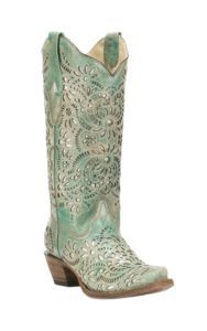 4eb2eabde307 Corral Boot Company Women's Turquoise with Glitter Inlay Western Snip Toe  Boots   Cavender's