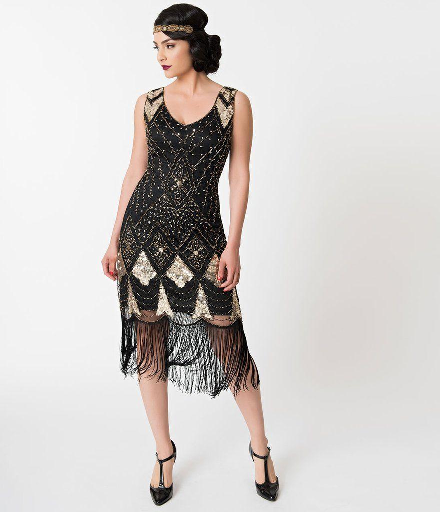 Unique Vintage Black   Gold Sequin Lina Fringe Flapper Dress c606a8a48