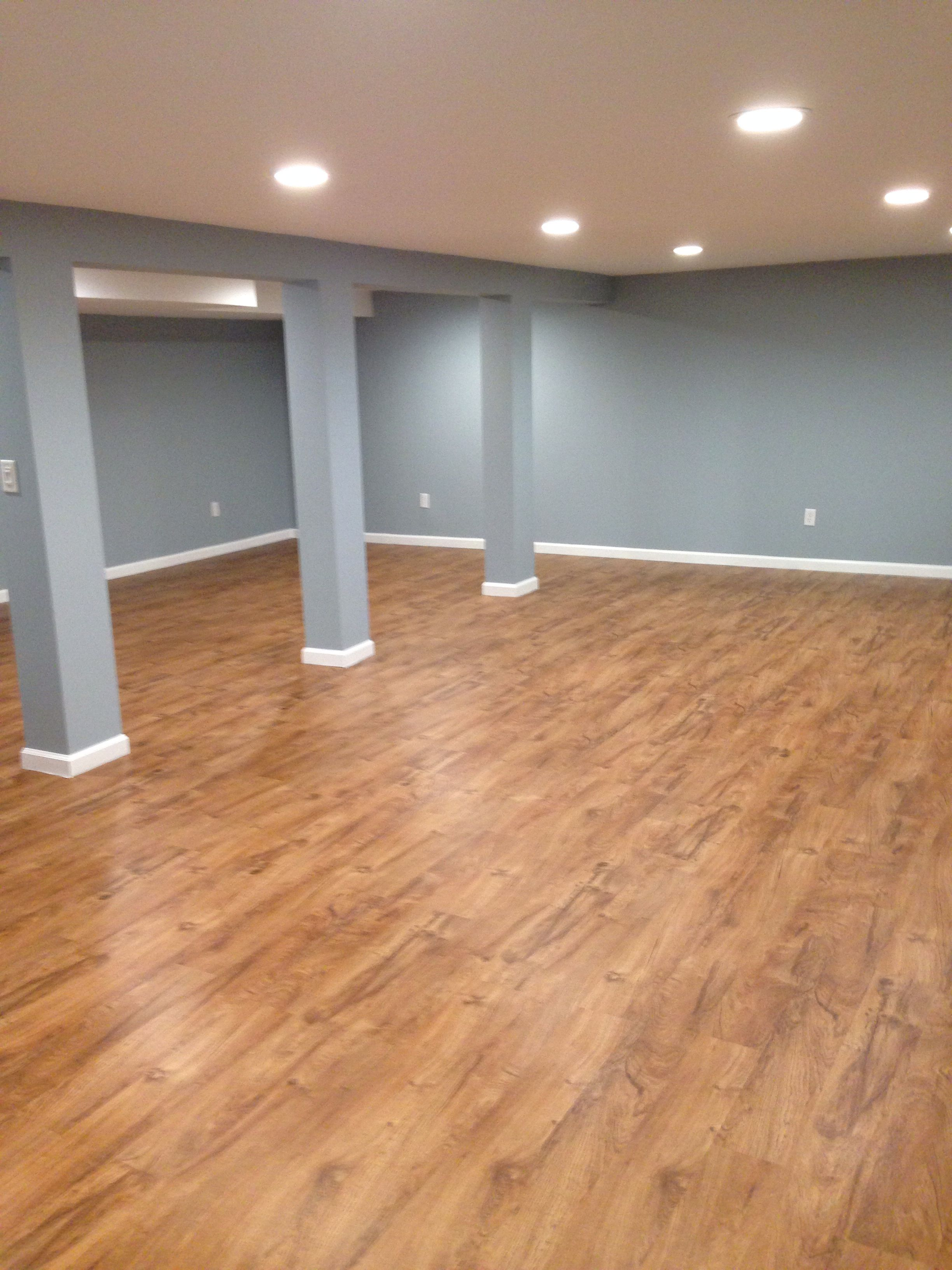 Our Basement With Resort Teak By Shaw Laminate Flooring Completed