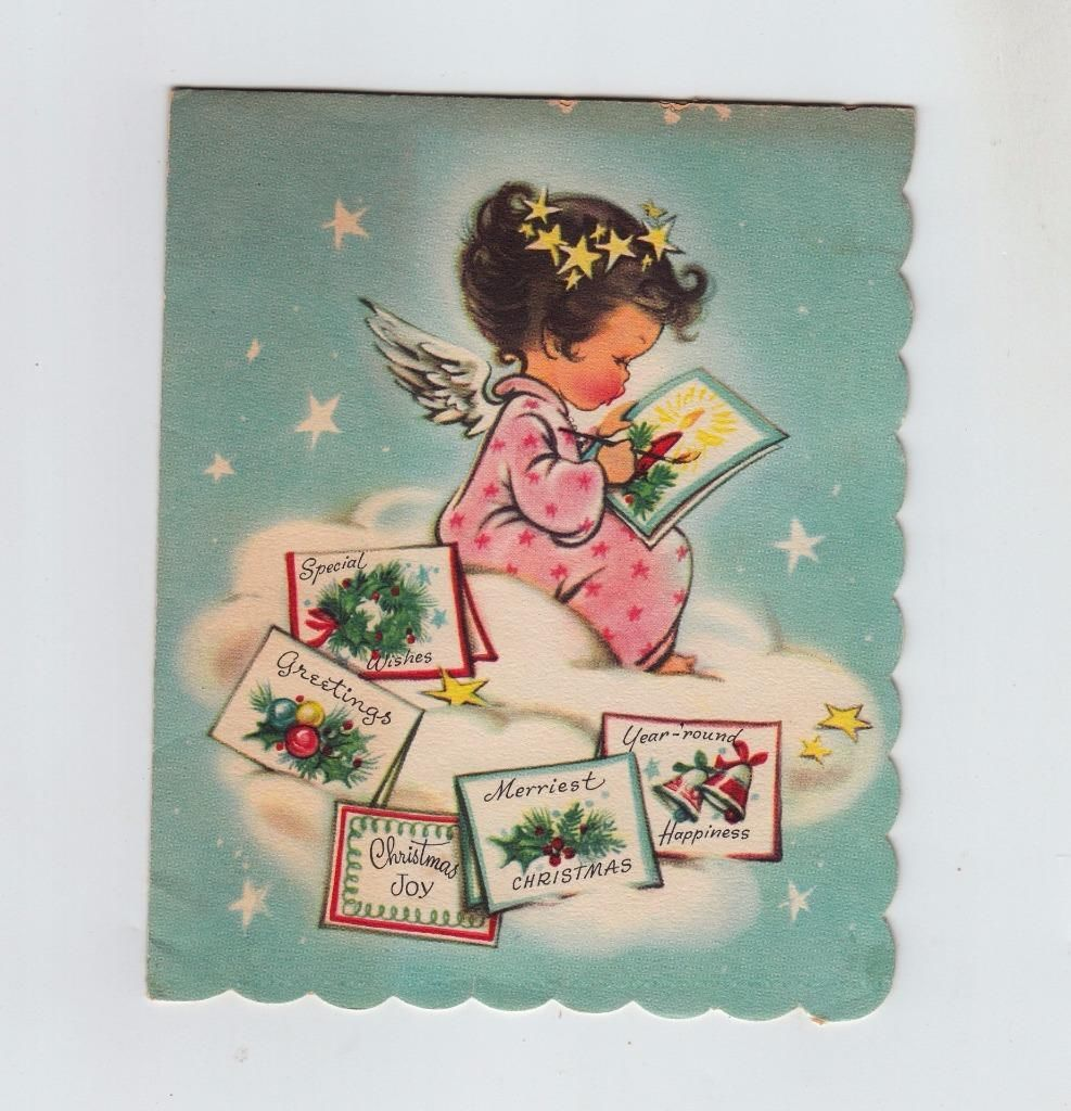 Vintage Little Angel Painting Christmas Cards Greeting Card | eBay