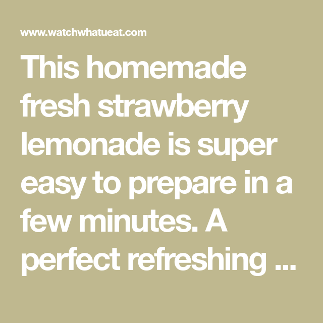 Homemade Fresh Strawberry Lemonade