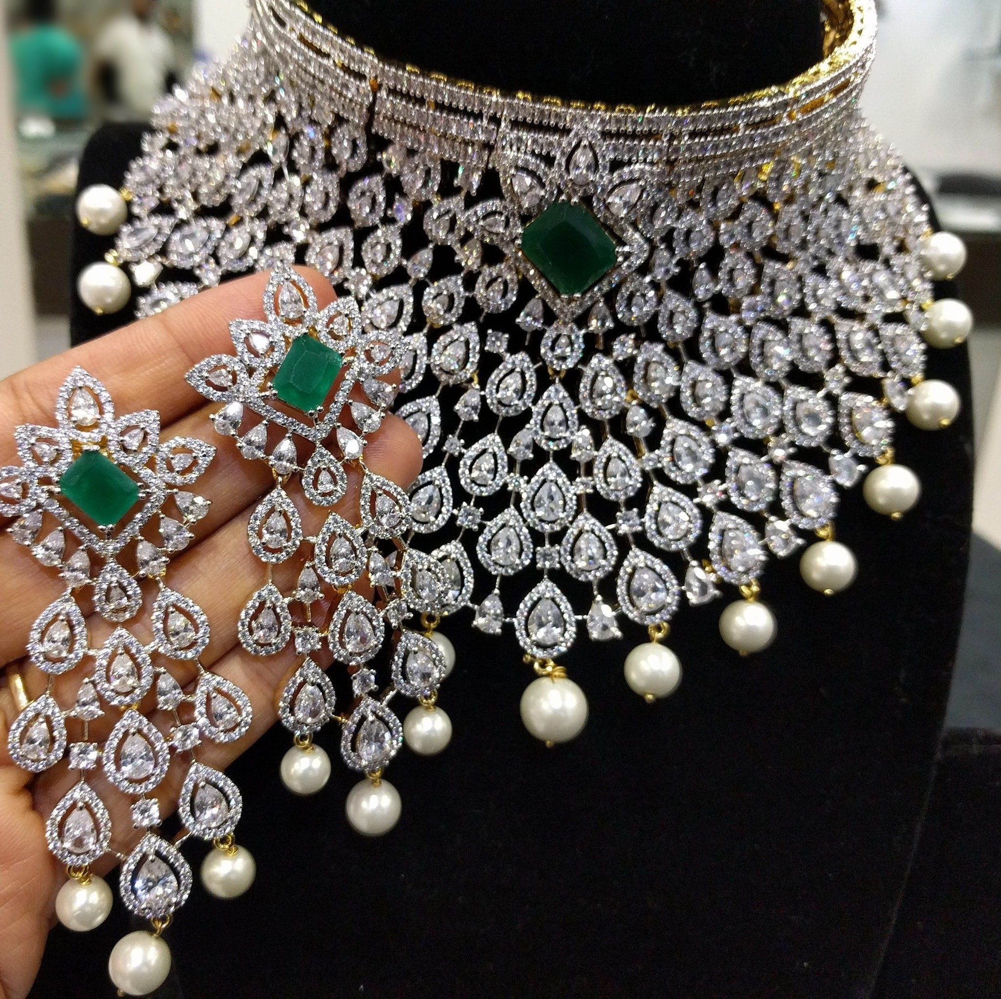 Jewelry Diamond Indian Bridal Jewellery Set The Grand Bridal Choker Necklace With Earrings I Bridal Diamond Jewellery Indian Bridal Jewelry Sets Bridal Jewelry