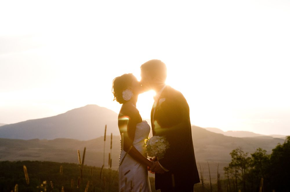 sunset mountain kiss