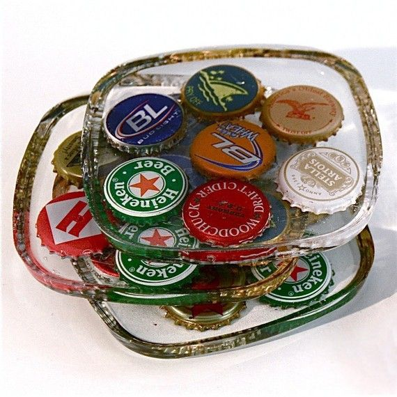 Beer Bottle Cap Coasters Set Of 4 Projects Bottle