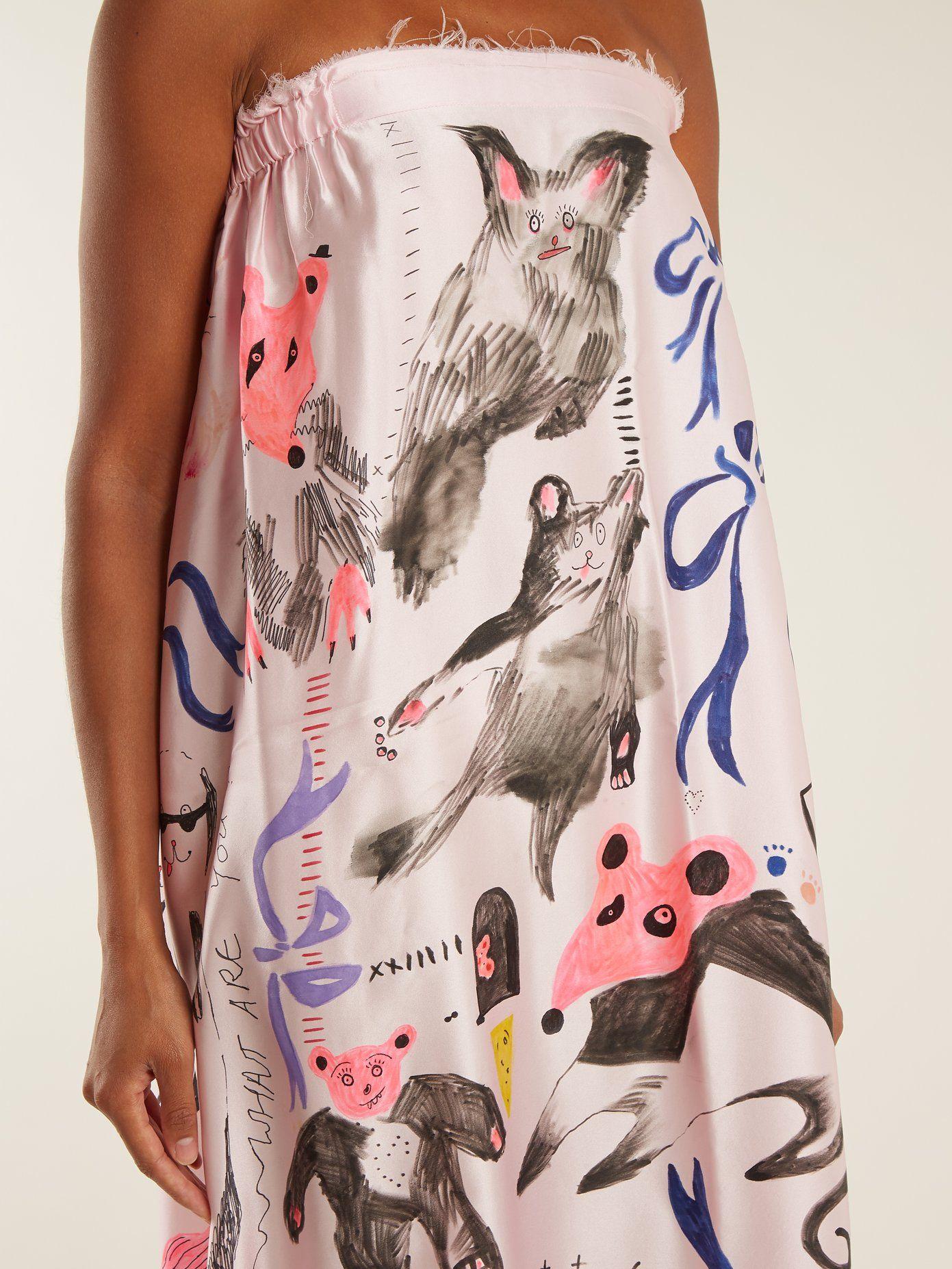 Animal-print strapless silk-satin dress Claire Barrow jEZYDxe
