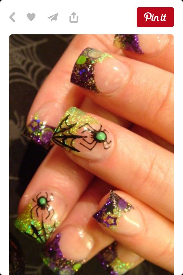 Halloween Green & Purple Spider Nail Art | Halloween nail ...