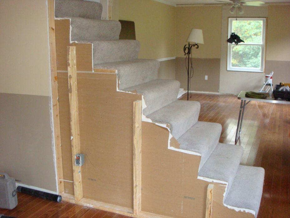 Stairway Remodel Before After Stair Railing Drywall
