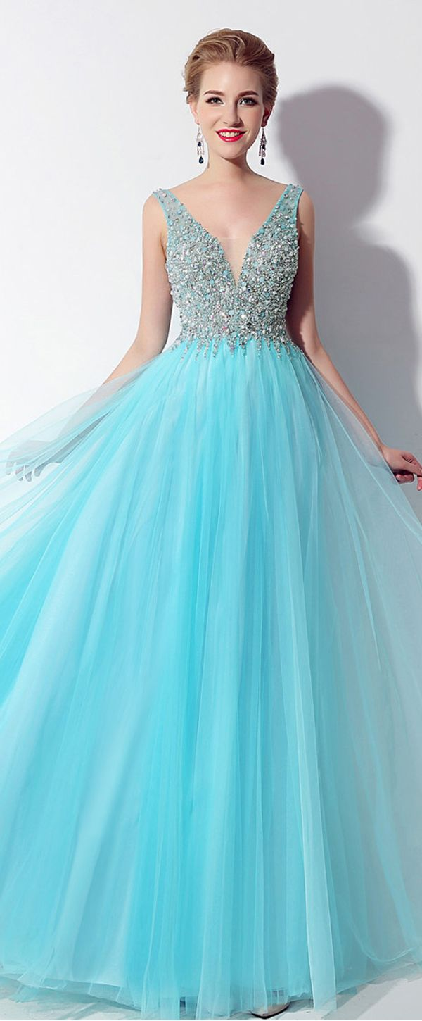 Fantastic tulle vneck neckline exposed back aline prom dresses