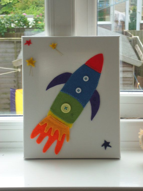 Felt Rocket Picture Childrens Felt Picture. by CalicoandCotton