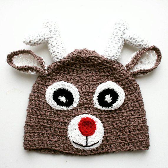 Crochet Christmas Baby Reindeer Hat Baby by KThandmadeDesign