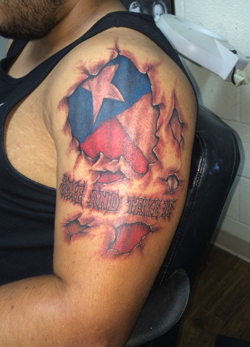 Torn flesh with Texas flag and Come and take it. Tattoo ...