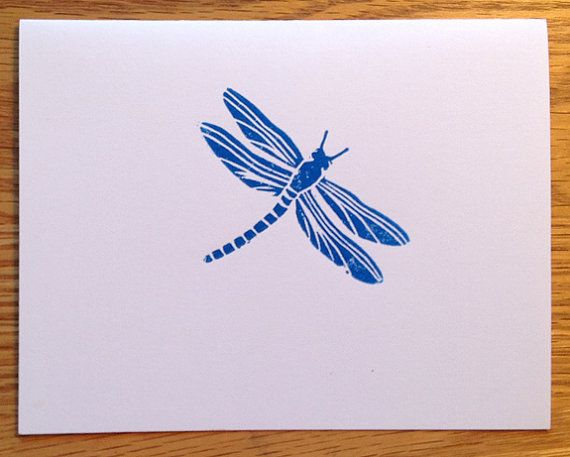 Dragonfly hand-printed linocut cards by LinoGal on Etsy. $10.00/set of 6, including postage in the US.