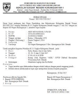 Download Contoh Surat Tugas Kegiatan Bimtek Bimbingan Teknis Kurikulum 2013 Sidapodikdas Kurikulum Surat Sekolah Dasar
