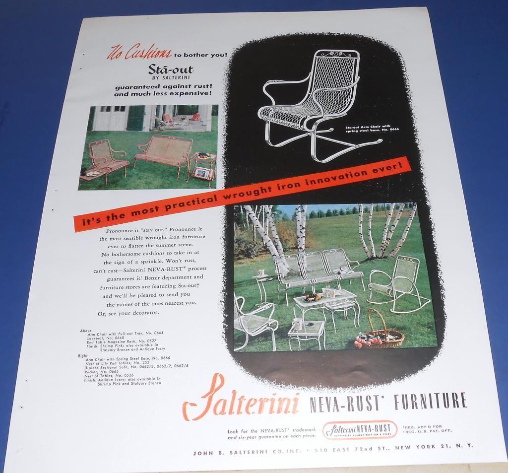 1950 Salterini Neva-Rust outdoor wrought iron furniture Ad
