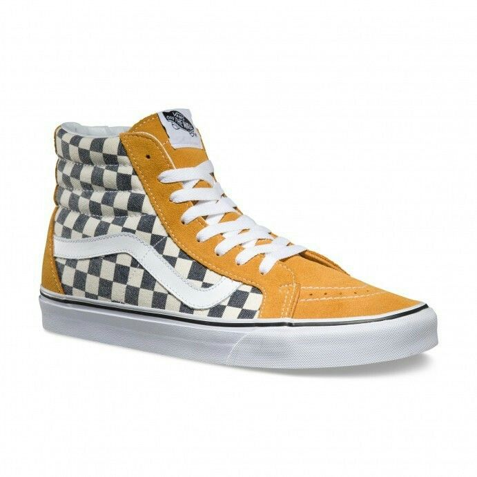 9e40c2fb146378 CHECKERBOARD SK8-HI REISSUE SHOES (Checkerboard) Spruce Yellow Navy ...