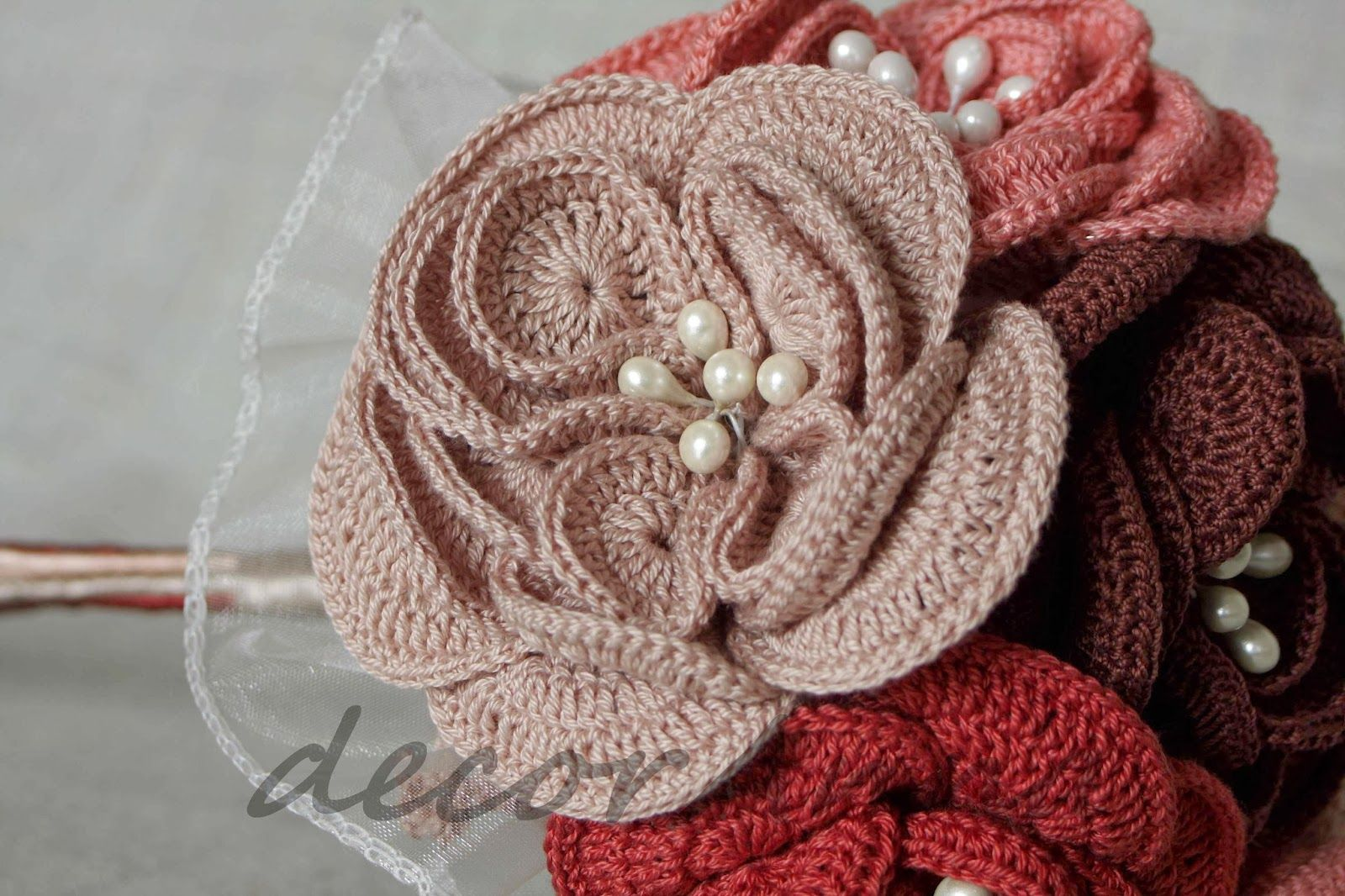 Each crochet flower with pearl beads alternative wedding bouquets each crochet flower with pearl beads izmirmasajfo