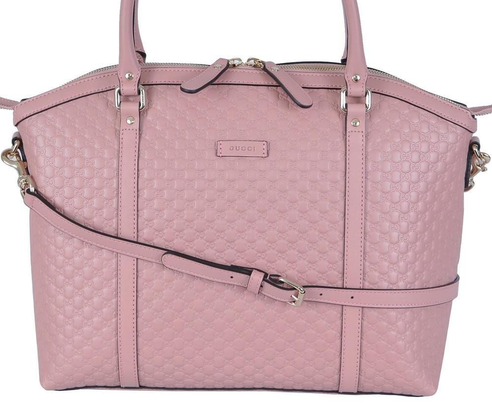 NEW Gucci 449657 Soft Pink Leather Micro GG Guccissima ...