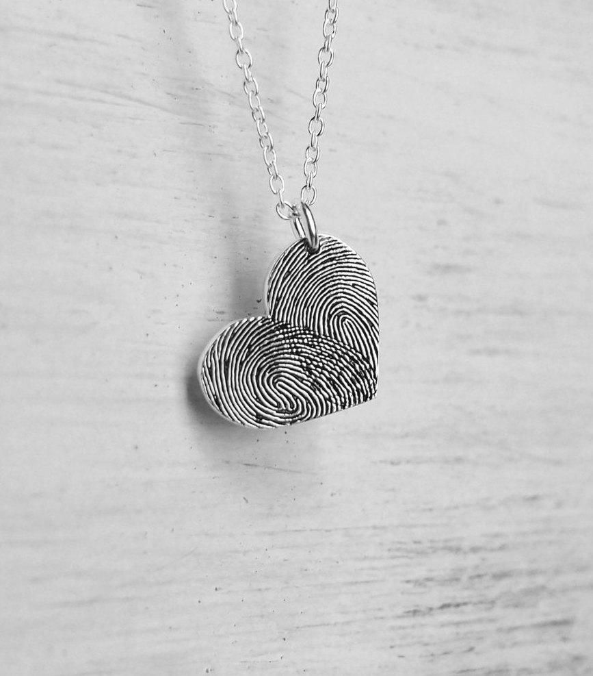 Fingerprint Necklace Heart Necklace Bar Necklace Custom Engraved Heart Cut-Out Engraved Pendant Coordinate Pendant Memorial Pendant