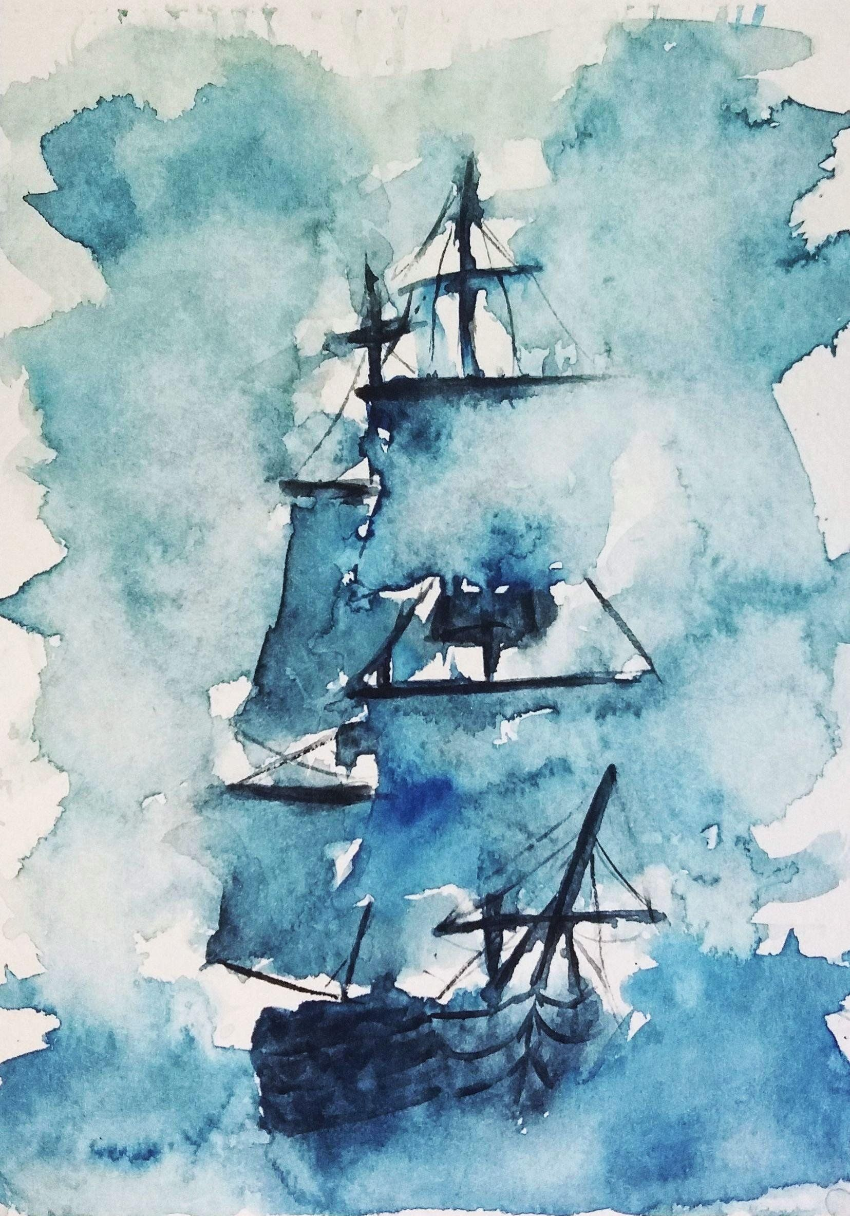 Sailing Ship, watercolor, 5