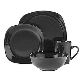 Great Gatherings Square Black 16 Piece Dinnerware Set Dinnerware Set Dinnerware Dinnerware Sets