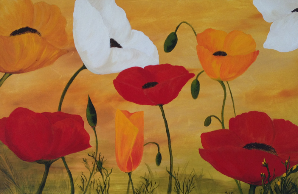 Poppies! Acrylic Painting on Wrapped Canvas Frame. 24x36\