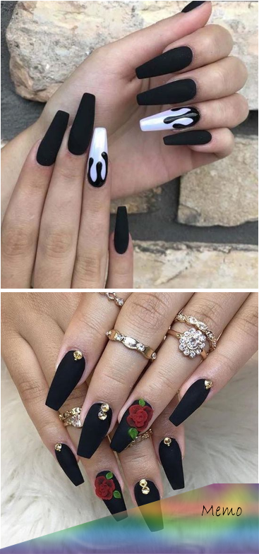 Sep 12, 2019 – The black matte coffin nails trends is growing and every woman or…