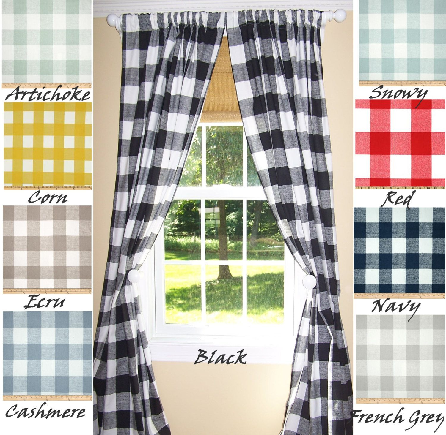 BUFFALO CHECK CURTAINS 9 ColorsBlack CurtainsLarge Check Curtains Buffalo CheckPair Drapery Panels24 Wide52 WideValance By Cathyscustompi