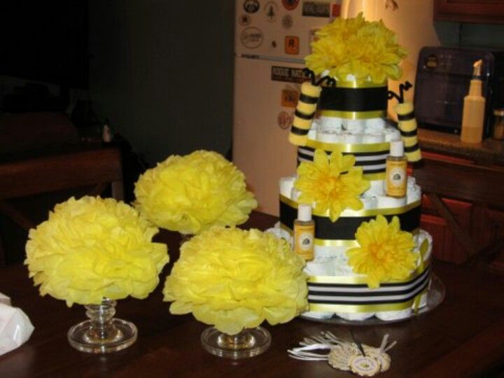 Bumble Bee Baby Shower Decoration Diaper Cake Tissue Poms And Gift Tags
