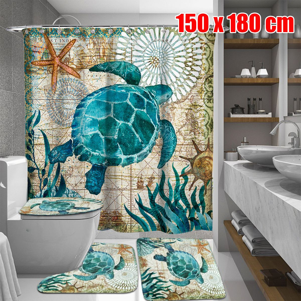 Sea Turtles Waterproof Bathroom Shower Curtain Toilet Cover Mat Non-Slip Rug Set