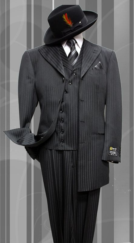 STACY-060 BLACK TONE ON TONE 3PC FASHION ZOOT SUIT AS SEEN IN GQ ...