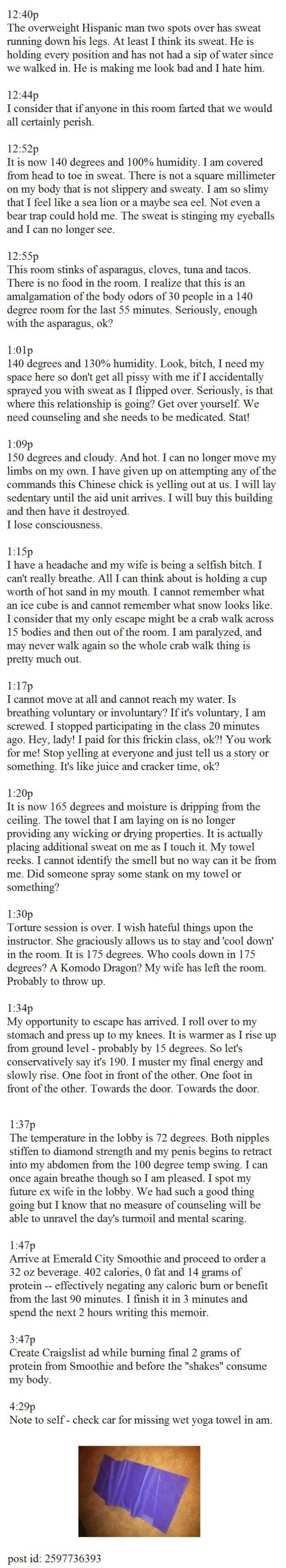 This Guy Posts A Craigslist Ad And I Can T Stop Laughing This Is Brilliant Yoga Funny Post Yoga Yoga Mats For Sale