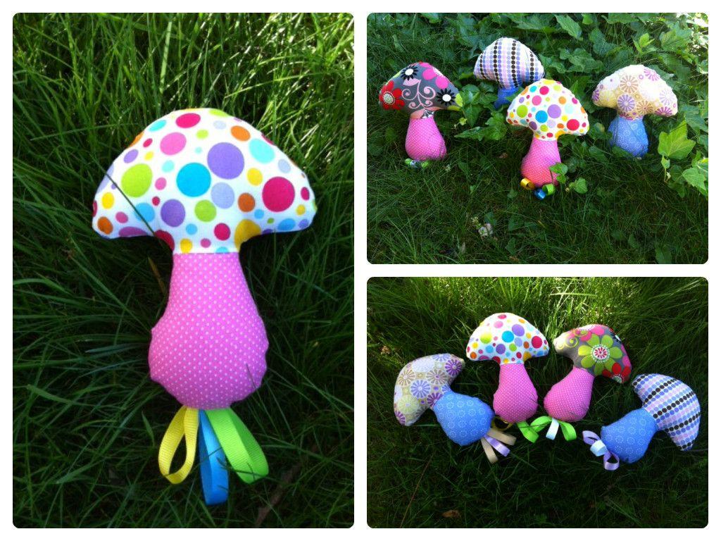 Mushroom baby rattle toy by Hazy Mae Designs - pattern by Dolls and Daydreams