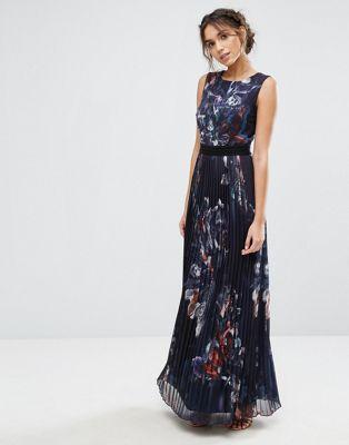 5d6a4570a0a Little Mistress - Robe longue plissée à fleurs - Bleu marine
